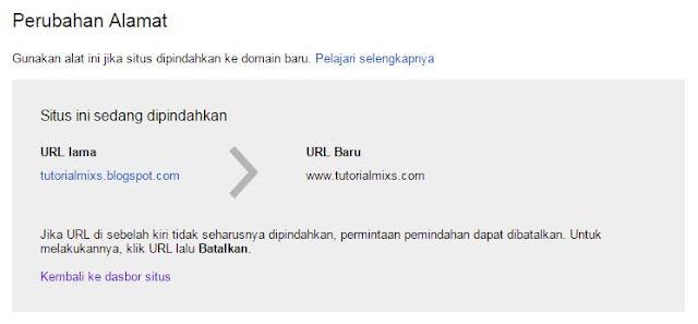 Perpindahan alamat ke domain .com(TDL) sukses