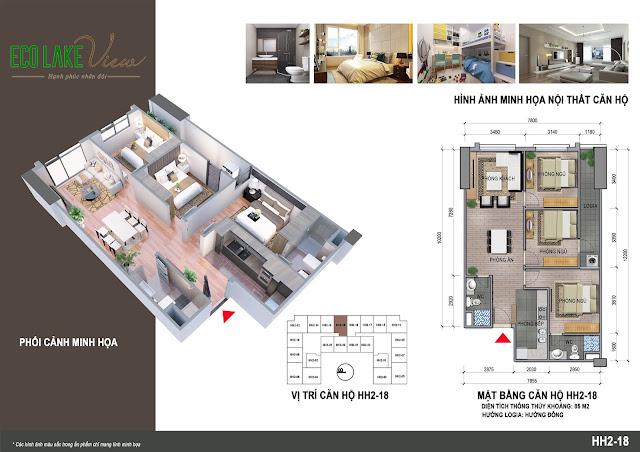 Căn hộ 18, diện tích 85m2 - 3 phòng ngủ