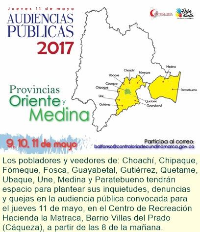 Contraloría de Cundinamarca en la provincia: En Cáqueza primera audiencia pública