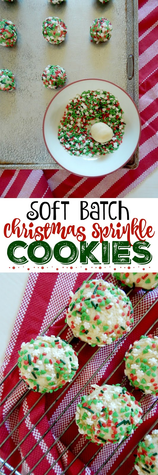 Soft Batch Christmas Sprinkle Cookies....a soft, tender, almond flavored sugar cookie coated in holiday sprinkles!  A kid favorite! Perfect for Santa and all your holiday gatherings. (sweetandsavoryfood.com)
