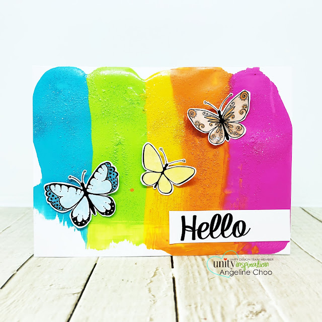 ScrappyScrappy: Butterfly Embellies #scrappyscrappy #unitystampco #card #cardmaking #craft #crafting #stamp #stamping #youtube #quicktipvideo #timholtz #distresspaints #rainbowpaint #rainbow #butterflies #spectrumnoirmettalic #clearrockcandy #distressstickles #glitter #paintsmear #paintsmoosh #paintspread #paintschmear #paintmix