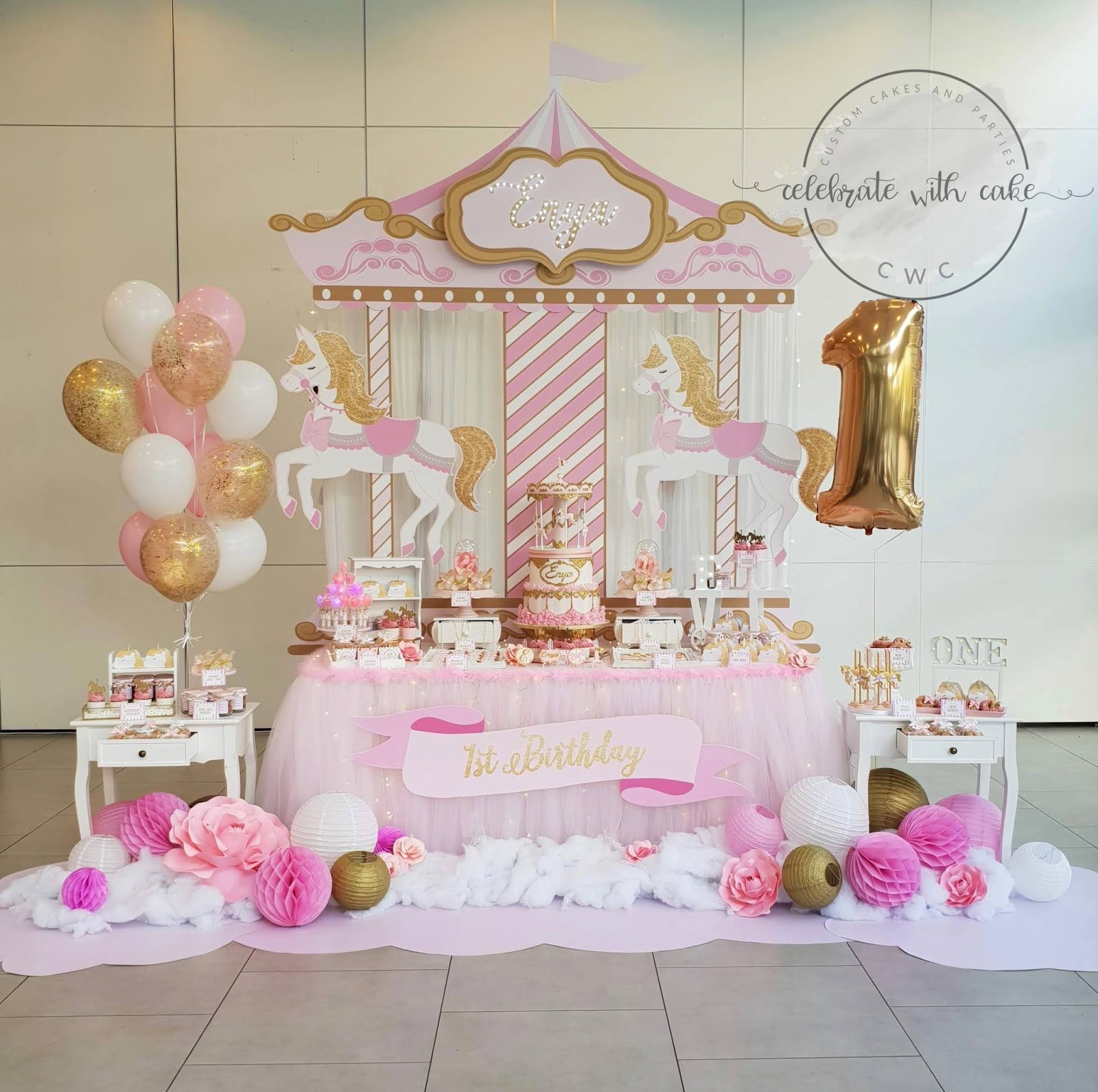 Pleasing Celebrate With Cake Rotating Carousel 1St Birthday Dessert Table Funny Birthday Cards Online Overcheapnameinfo
