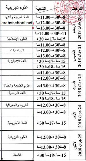 جدول سير اختبار بكالوريا 2018 شعبة علوم تجريبية
