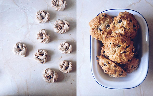 Cardamom Knots & some very old fashioned Rock Cakes.
