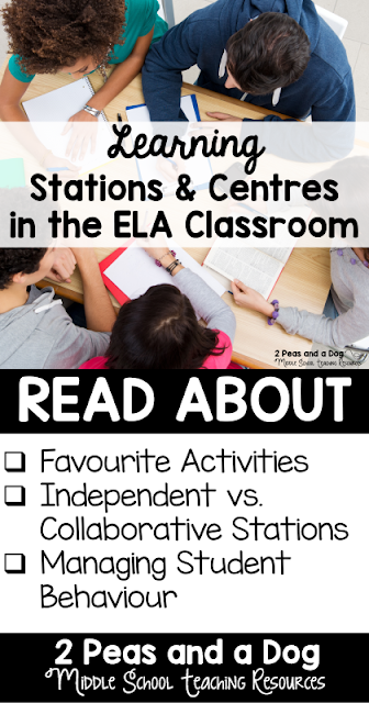 Using stations is a fantastic way to increase engagement in the English Language Arts classroom. Get ideas on how to use and manage stations in your middle or high school ELA classroom from 2 Peas and a Dog.