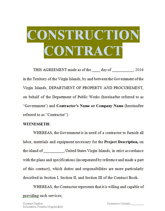 construction contracts editable in word doc | Sample Contracts ...