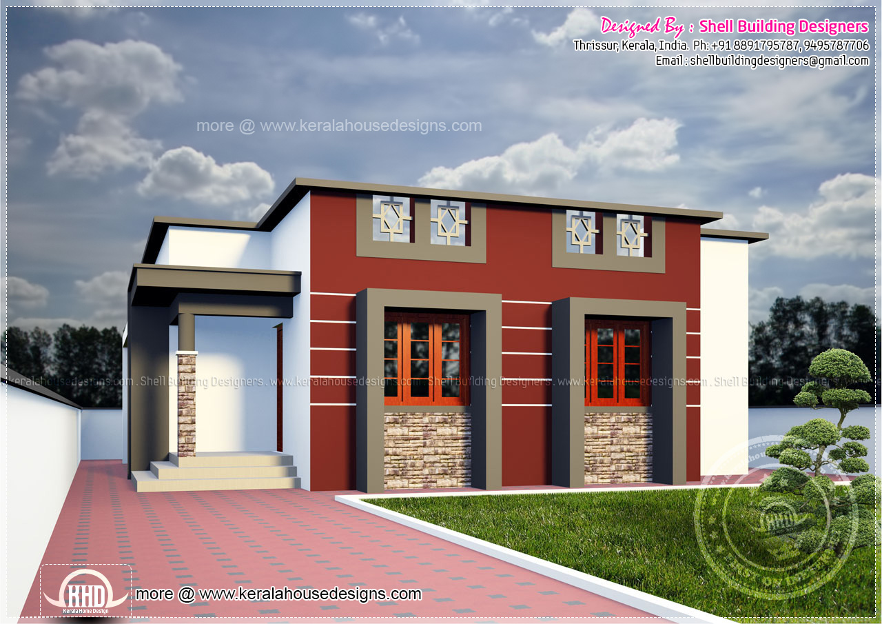 2 bedroom single floor affordable house plan kerala home for Cost to build shell of house