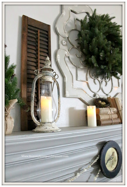 Winter Mantel-French Country-Vignette-Farmhouse-From My Front Porch To Yours