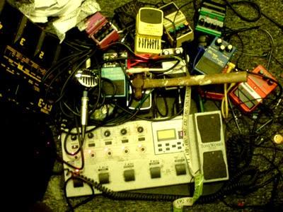 Broken guitar effects pedals