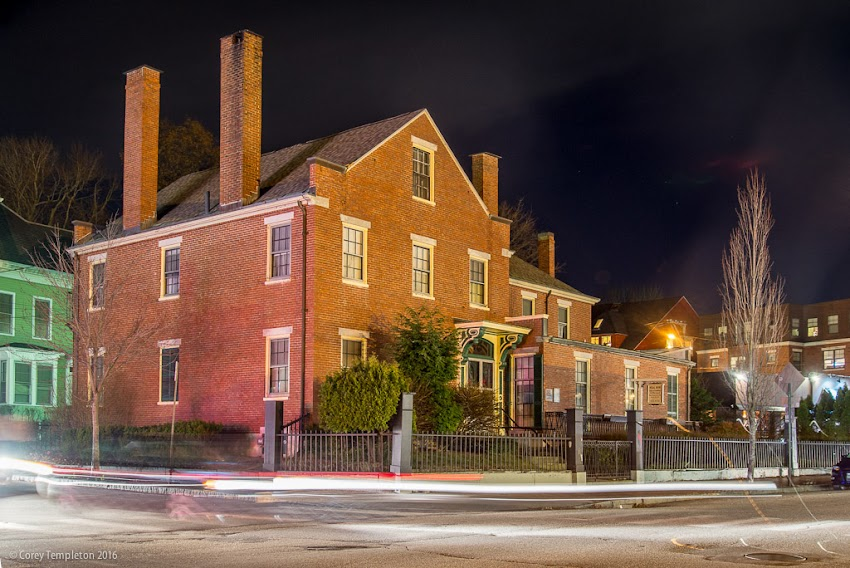 Portland, Maine USA December 2016 photo by Corey Templeton of the Neal Dow Historic House at 714 Congress Street at night.