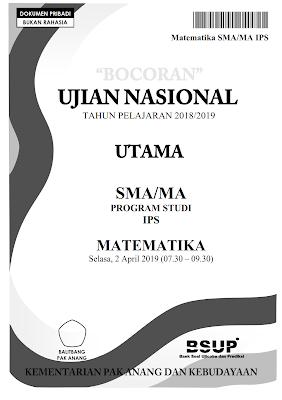 Download PDF Bocoran Soal UN Matematika SMA IPS 2019