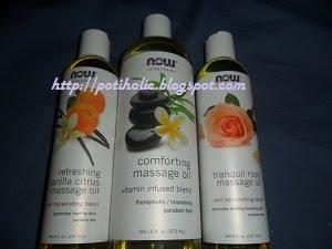 tres de los aceites de masaje now foods disponibles en iherb