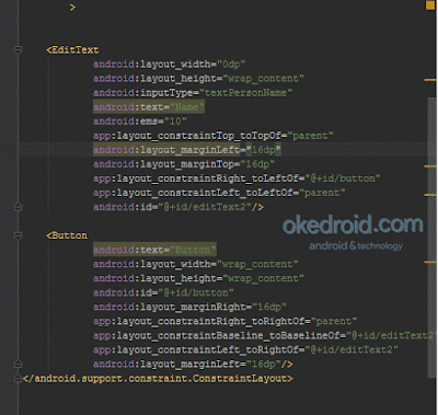 Code EditText dan Button di dalam ConstraintLayout Android Studio