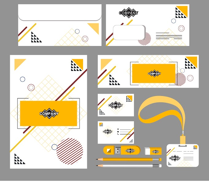 Corporate identity sets flat abstract geometric decor Free vector