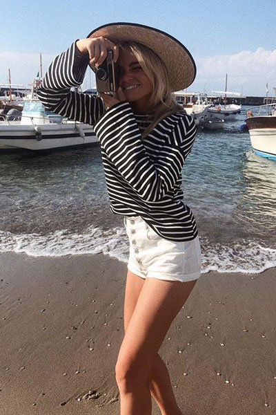 Striped Boat Neck Top | 21+ Pretty Fall Outfits Inspired by Fashion Influencers