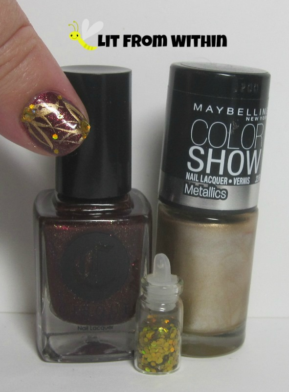 Bottle shot:  Cirque Colors Arcane Fire, Maybelline Bold Gold