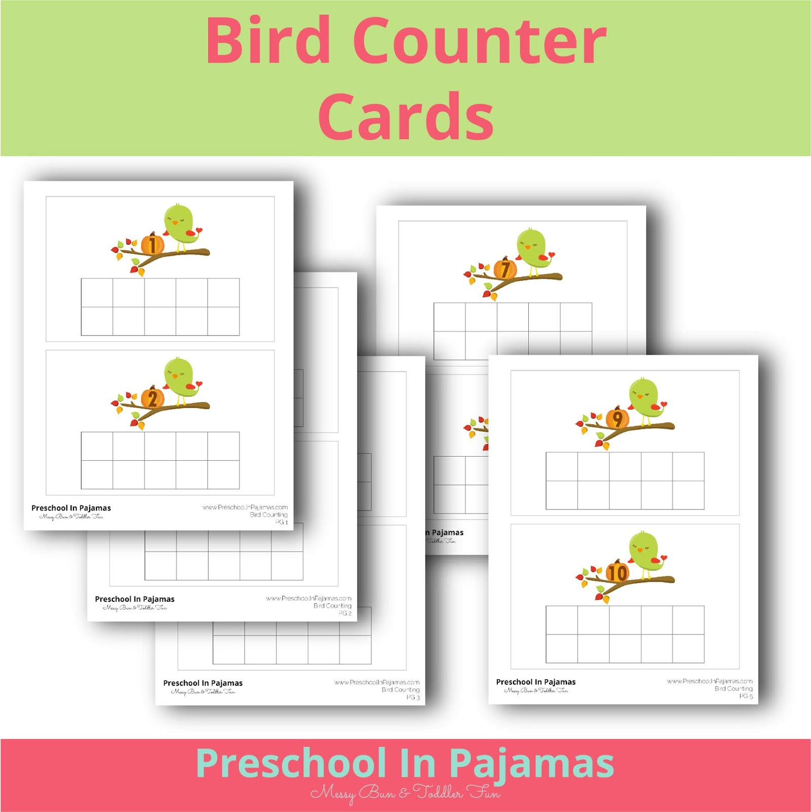 Free Printable Bird Counter Cards