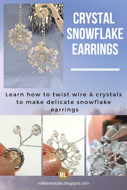 Crystal Snowflake Earrings project sheet with stepouts