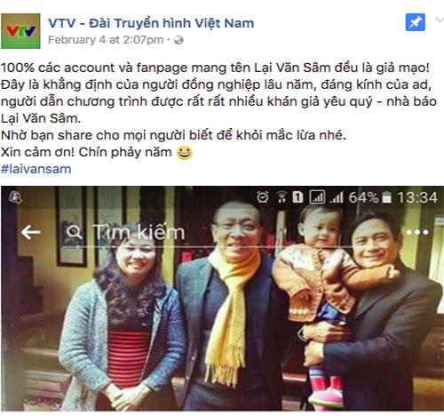 VTV thong bao cac tai khoan facebook gia mao nha bao Lai Van Sam
