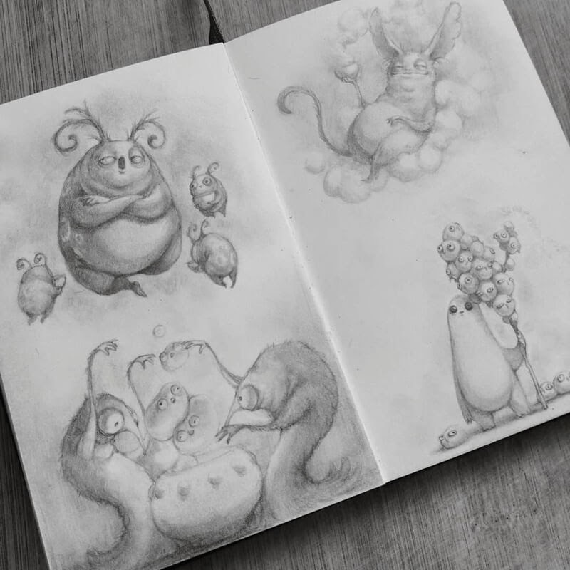 11-Stella-Bialek-Moleskine-Fantasy-Creatures-Drawings-www-designstack-co