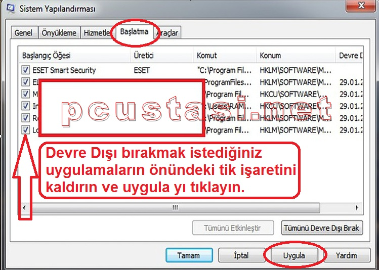 windows-10-hizi-artirma-msconfig