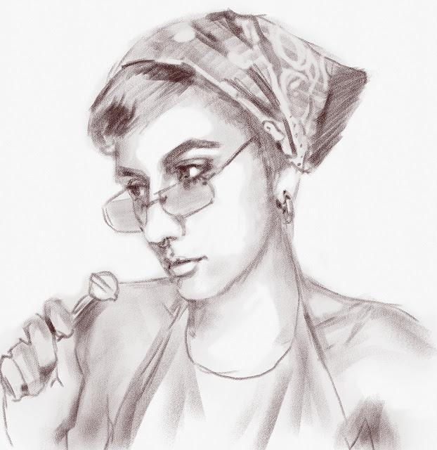 Скетч девушки в очках и платке (сепия цифровая)