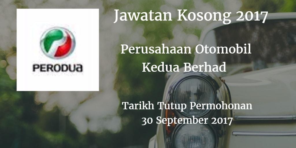Jawatan Kosong PERODUA 30 September 2017