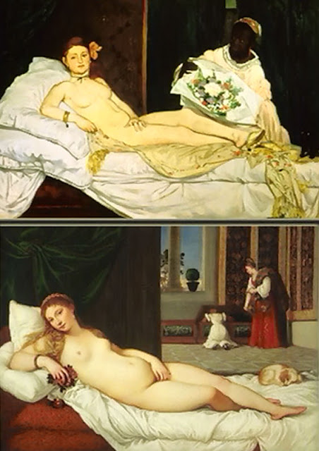 A closer look at the striking similarities and differences of Manet's 'Olympia' and Titian's 'Venus of Urbino.' Photo: WikiMedia.org.