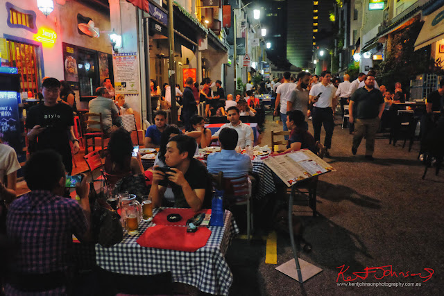Restaurants and bars on  Ann Siang Hill and Club Street on a Saturday night in Singapore. Photo by Kent Johnson for Street Fashion Sydney.
