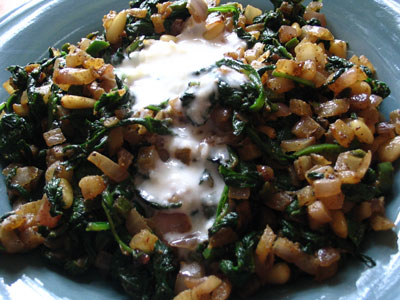Wilted Spinach with Pine Nuts and Lemon-Yogurt Dressing