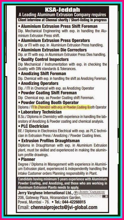 Leading Aluminium Extrusion Company Jobs for KSA-Jeddah - Gulf Jobs
