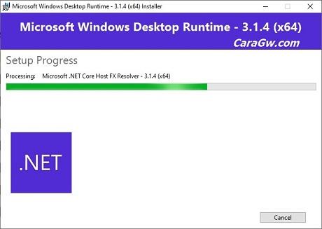 Proses install Microsoft Net Core Runtimes