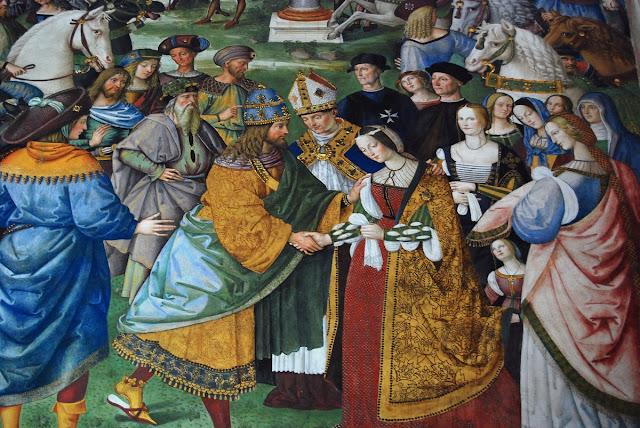 détail de la rencontre entre Eleonore et Frédéric III.