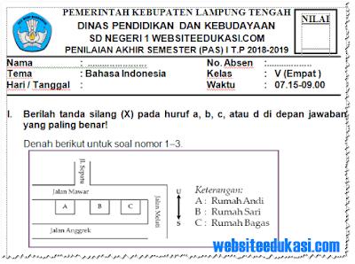 Soal PAS/ UAS Bahasa Indonesia Kelas 4 Semester 1 K13 Tahun 2018/2019
