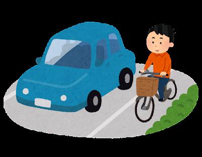 車道を走る自転車のイラスト