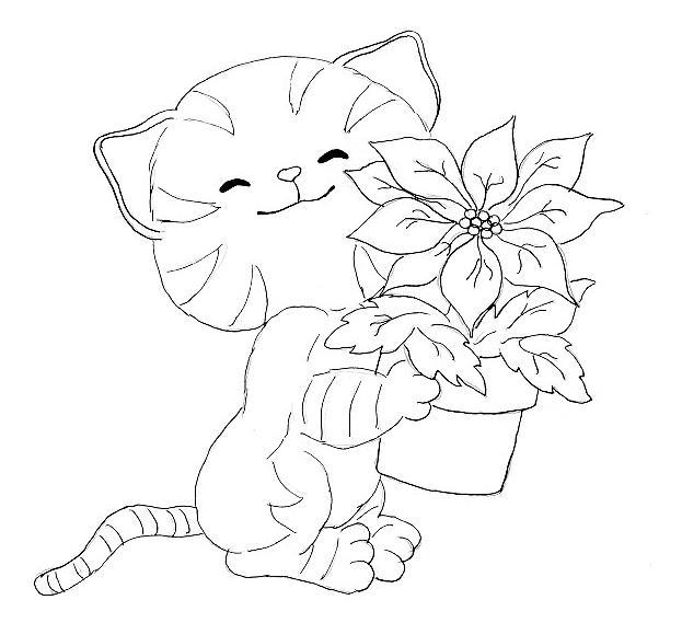 Kleurplaten Dieren Kleurplaten Dieren Poes Kat Kittens