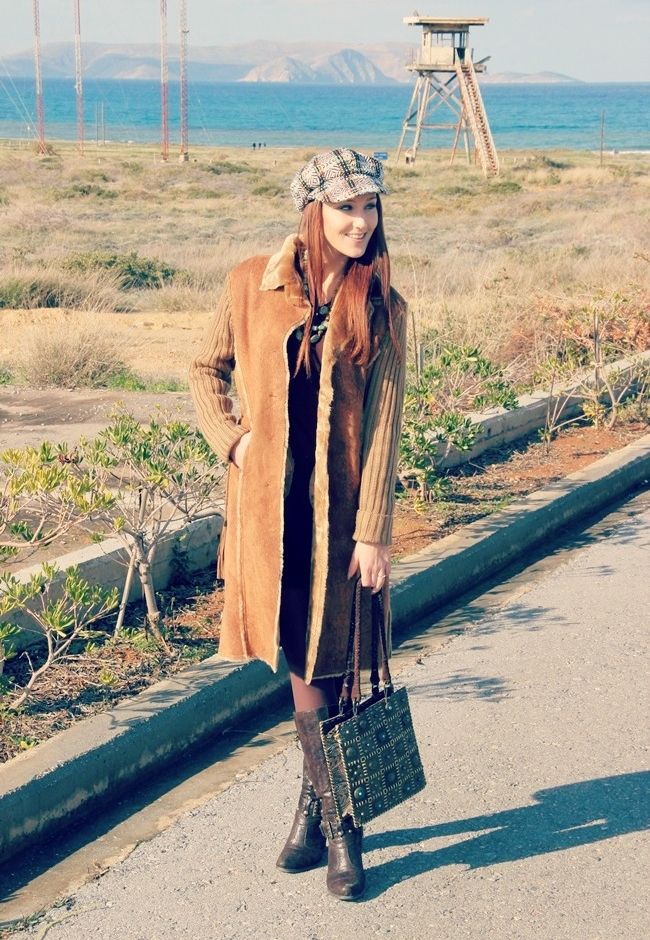 brown faux fur long knitted cardigan jacket