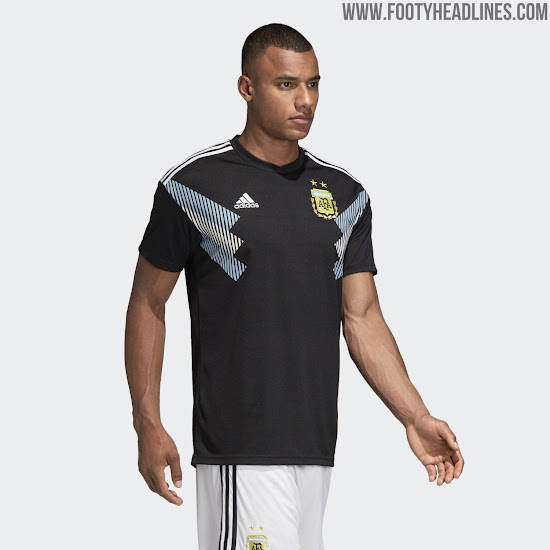 8a0b133c317 Black shorts and socks complete the Argentina 2018 away kit. As a neat  little touch, the latter use the 3 Stripes in blue-white-blue.