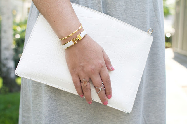 Whistles white clutch bag, Gold Jewelry, H Bracelet, Pink manicure, Fbloggers, Pregnancy style