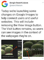 Tweet form @searchLiasion said that Google removing view image button