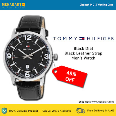 Tommy Hilfiger Black Dial Black Leather Strap Men's Watch (TH1710342)