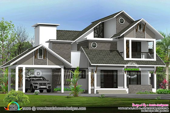 2550 square feet 4 bedroom sloping roof home