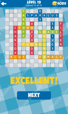 Cheats, Solutions for Level 19 in 13 Word Connect by Second Gear Games