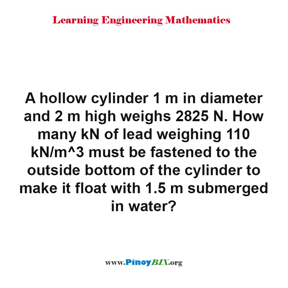 How many kN of lead must be fastened to the outside bottom of the cylinder make it float?