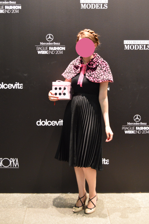 mbpfw, fashion week, prague, pleated skirt, vintage, black, bodyline, leopard, pink, rope braid, kanekalon, Gate
