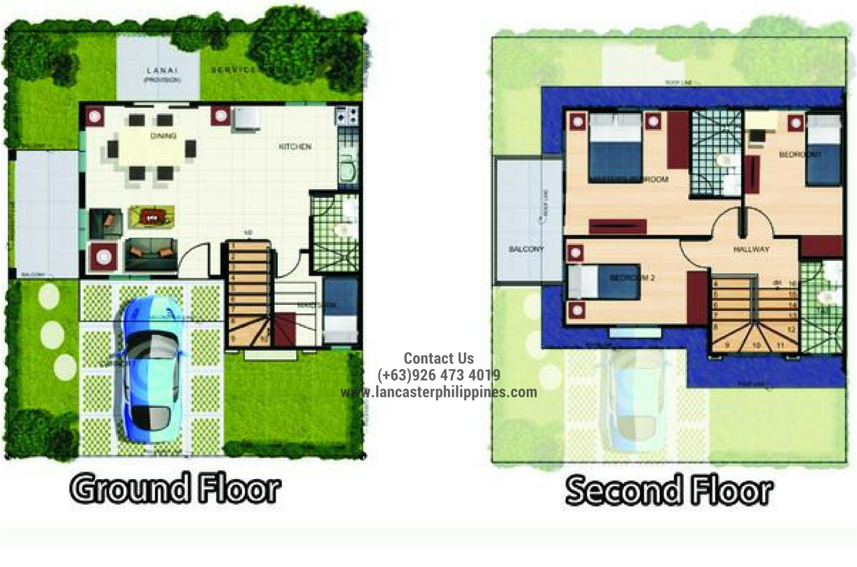 Floor Plan of Alexandra - Lancaster New City Cavite | House and Lot for Sale Imus-General Trias Cavite