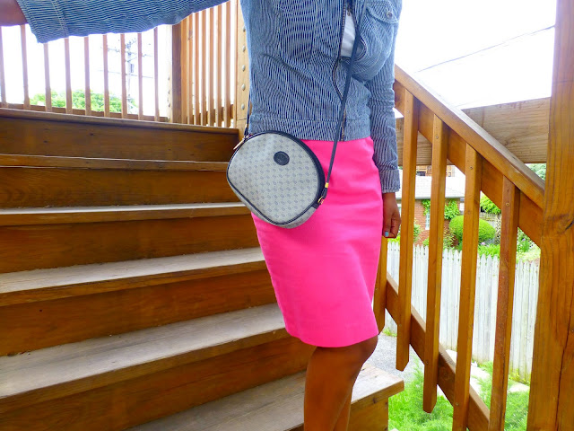 thrift and style a pink pencil skirt