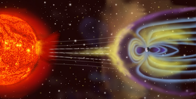 Artist's depiction of solar wind particles interacting with Earth's magnetosphere. Credit: NASA