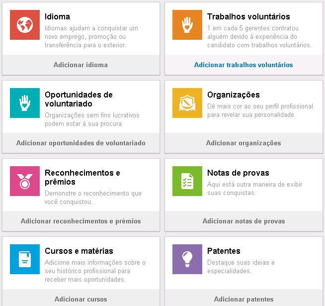 Outros itens do perfil como: Idioma, Trabalhos voluntários etc.