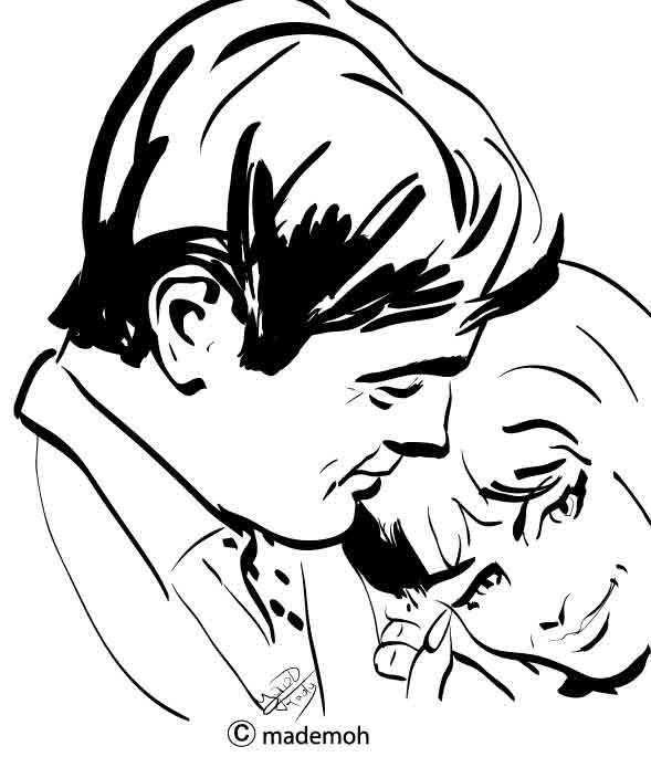 couple amoureux au pinceau calligraphique d 39 illustrator. Black Bedroom Furniture Sets. Home Design Ideas